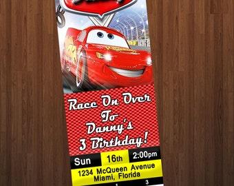 DISNEY CARS INVITATION,Cars Invitation,Car Birthday Party,Cars,Ticket Stub Invitation,RaceCar Party,Printable Invitation,PerfectPixelFactory