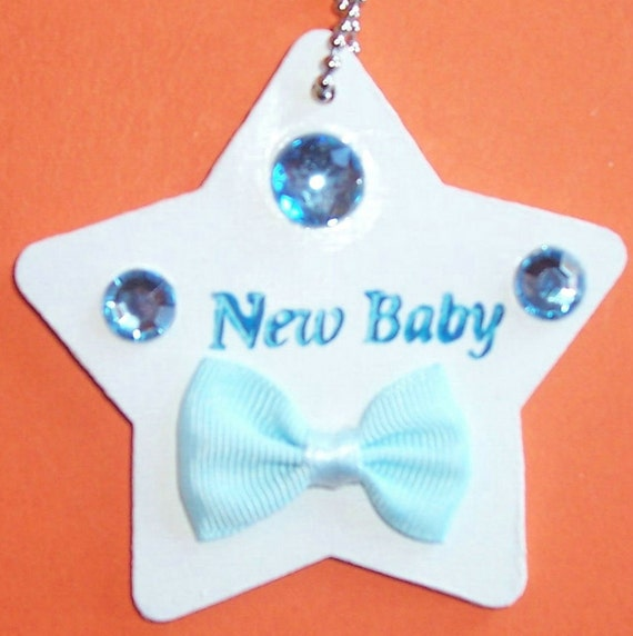 New Baby Boy Gift Tag : Wooden star shaped new baby gift tag
