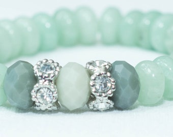 Jade, Grey, and Silver Beaded Stretch Bracelet
