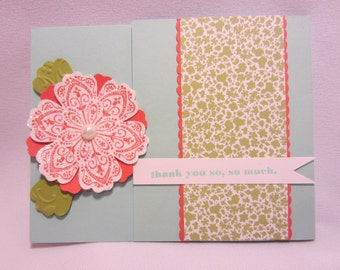 Coral Glitter Flower Thank You Card