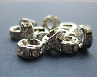 25 Rondelle Spacer Beads - Rondelle Rhinestone Spacers - Round - 8mm x 3mm -- (No.109-10947)