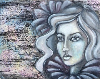 Milady-woman's face light-dark-Painted original mixed media on canvas 30x40x2 cm