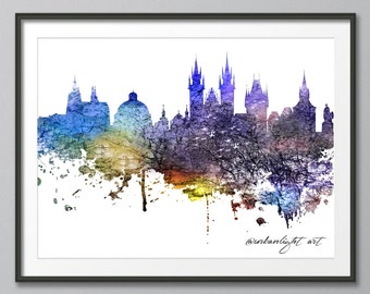 Skyline, Prague Skyline, Czech Republic, Urban Buildings, Urban Silhouette, Architecture, Cityscape, Print, Poster, Modern Art, Painting,