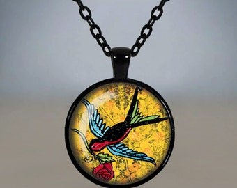 Rockabilly Tattoo Necklace Swallow Glass Cameo Pendant Cabochon Tile Necklace Jewellery