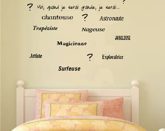 Decal wall No.. E-004 - girl - me, when I would be great, I'll be... - child