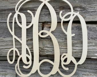 Wooden Monogram - Unpainted Wood Monogram - Wood Letters