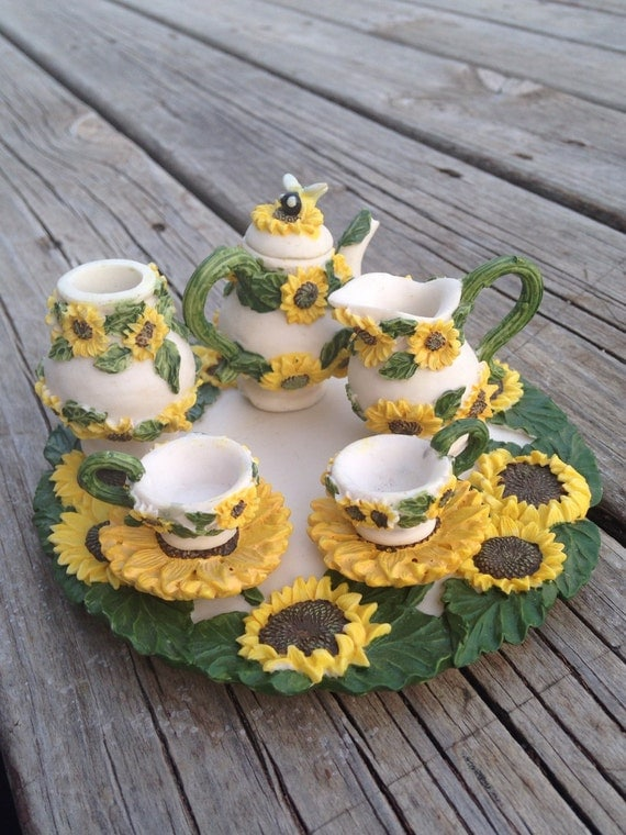 miniature poly resin sunflower tea set fairy garden dolls. Black Bedroom Furniture Sets. Home Design Ideas