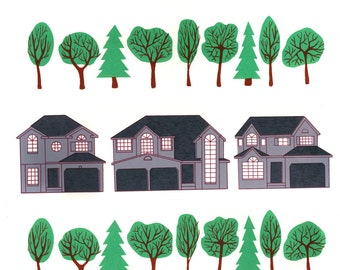 Suburban Neighbourhood Hand-Printed Silkscreen Poster
