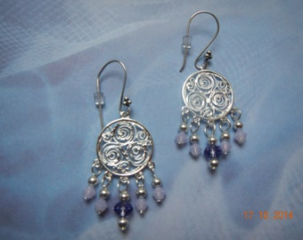 Silver-tone Swarovski Crystal Chandelier Earrings
