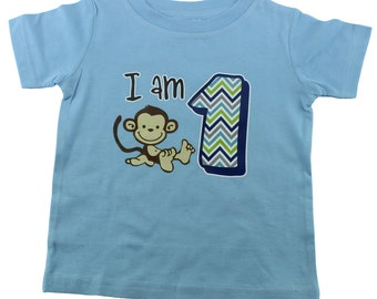 Monkey Shirt - Monkey Birthday Shirt, Monkey 1st Birthday Shirt, 1st Birthday Monkey Shirt, 12-18 mo