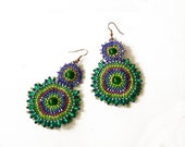 Bedawork, Peacock Earrings in Handmade, Native American, Peyote stitch, multicolor,EBW Team beadwoven, Rounded Coupon codes
