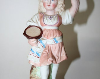 Victorian figurine, Girl with tambourine, Bisque, Vintage, Antique  German Figurine
