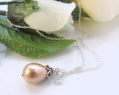 Peach Pearl Necklace -  Silver Solitaire Pendant - Sterling Silver - Swarovski Pearls - Wedding Bridal Jewelry
