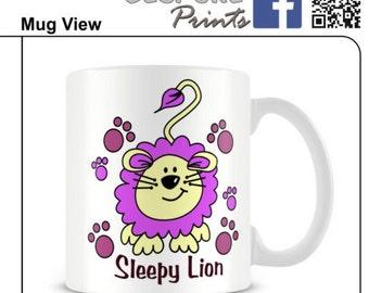 lion mug animal sleepy mug quirky mug