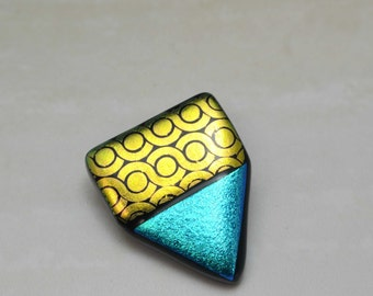 Chip On My Shoulder #1, Fused Dichroic Glass Brooch, Dichroic Glass Pin, One Of A Kind, Handmade, Artisan Brooch, Fashion Statement