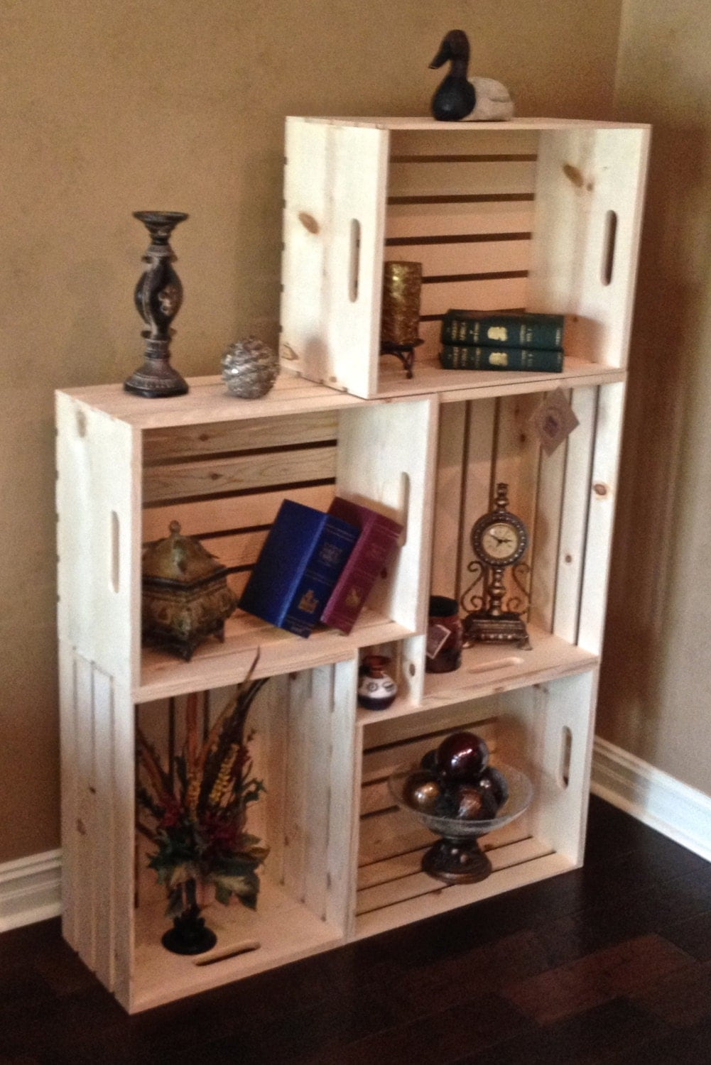 Decorative Boxes For Bookshelf : Set of five extra large wood crates l w x