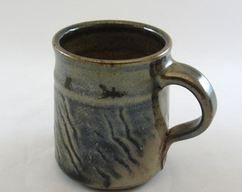 20% off with ENDOFSUMMER coupon code thru 9/6/2016  Handmade pottery mug, stoneware, wheel-thrown, slip decorated, hand carved, shino glaze