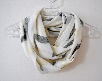 Ecru Chiffon Infinity Scarf with Gold and Black Bird Feathers Print Available in 2 Sizes, Summer Fashion, Women Accessories, Spring, Fall