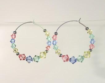 Sterling Silver Hoop Earrings, Swarovski Crystal Hoop Earrings, Crystal Earrings, Swarovski Earrings, Bridesmaid Gift, Crystal Hoop Earrings