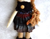 OOAK Art Handmade Fabric Doll - Willow the Black Bear No.2 Forest friends series