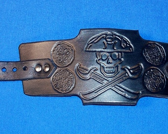 Leather Pirate Jolly Roger Skull and Crossed Cutlasses with Doubloons Wristband