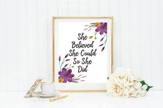 Nursery Quote She Believed She Could So She Did By