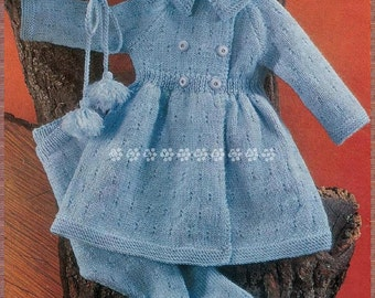 "1950's Knitting Pattern to make Baby Toddler Coat,Leggings & Hat Chest 21-23"" in DK A PDF for Immediate Digital Delivery"