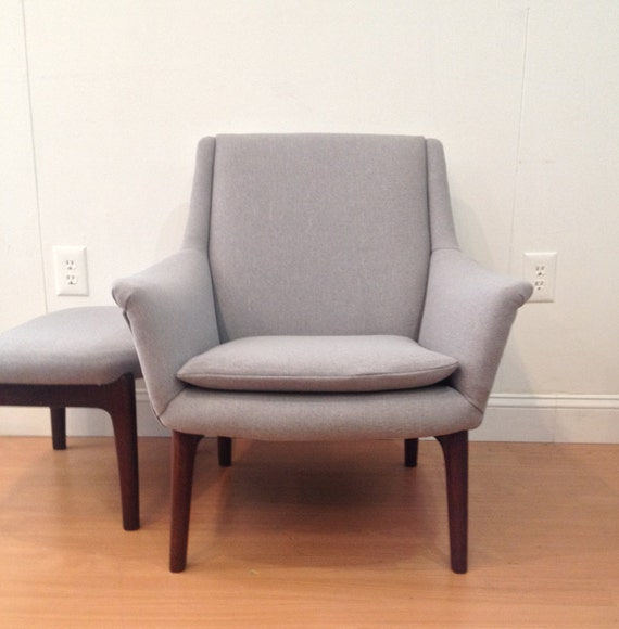Danish Modern Upholstered Lounge Chair And Ottoman By