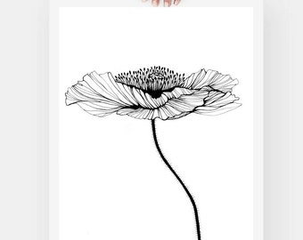 """Large Poppy, Pen and Ink Print, Flower Art, Black and White, 8.3""""x11.7"""""""