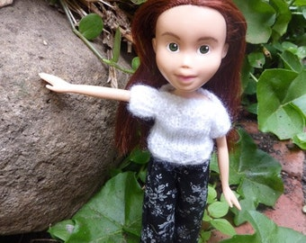 Back to Natural Doll No.3 recycled, OOAK, hand painted, hand knitted, and clothed. Made Down