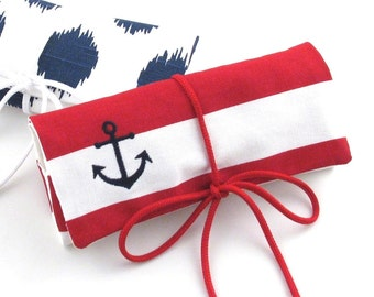 FREE SHIPPING - Nautical Jewelry Roll // Travel Jewelry Roll // Jewelry Organizer
