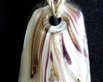 Hemp macrame necklace with glass pendant