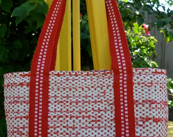 Tote bag made out of recycled plastic shopping bags