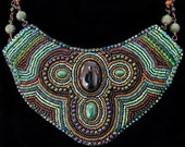 Bead Embroidered Onyx and Malachite Statement Necklace