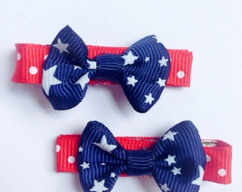 Set of Red White and Blue Bow Hair clips, 4th of July Bow hair Clips, 4th of July Hair Clips, Baby Hair Clips, Patriotic hair clips