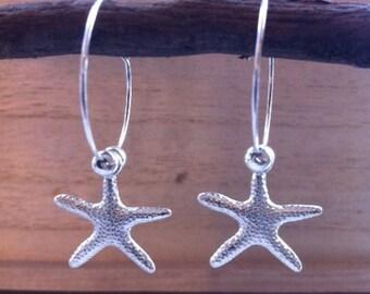 Handmade Silver Starfish Charm Hoop Earrings