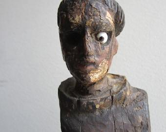 VINTAGE Mexican Wood Saint (Santo) Sculpture