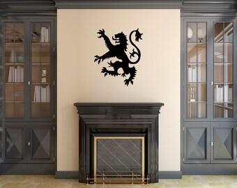 Lion Rampant Wall Sticker - Scottish Flag Symbol / Royal Standard of Scotland