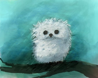 "Baby Snow Owl, Print, 10""x10"" or Larger"