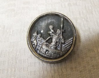 Vintage Sentinel of Cracow Metal Button, Estate Find