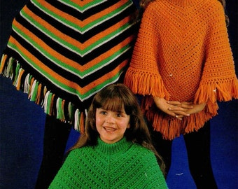 PDF Knitting Pattern Girls Poncho Pattern in Double knitting- fits ages 4- 16 years