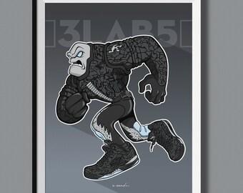 """Beasts in Sneaks - Air Jordan 3Lab5 """"Metallic"""" inspired art print. Sneaker Art"""