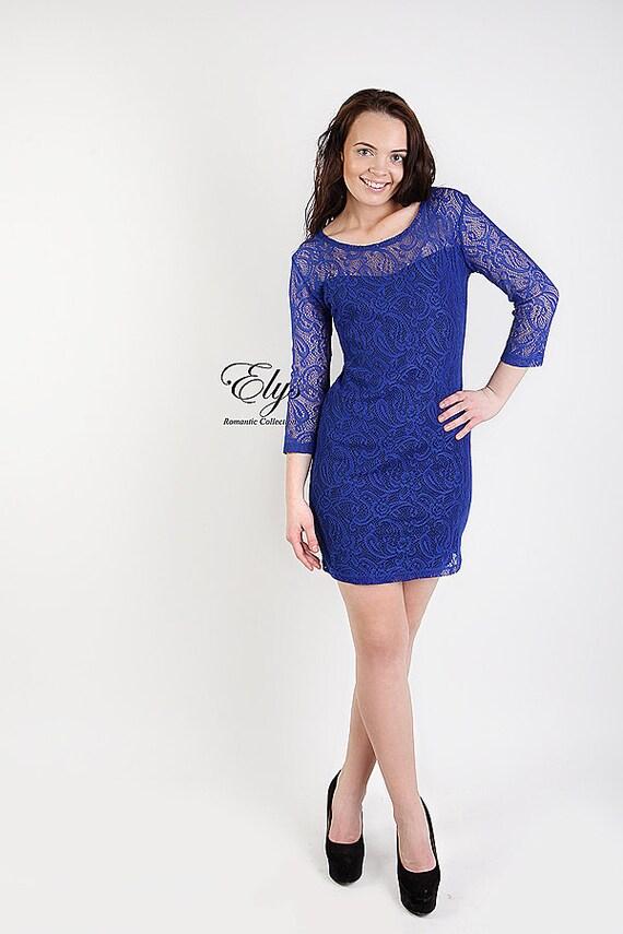 Blue lace dress Spring fashion Large US 12 Royal blue mini