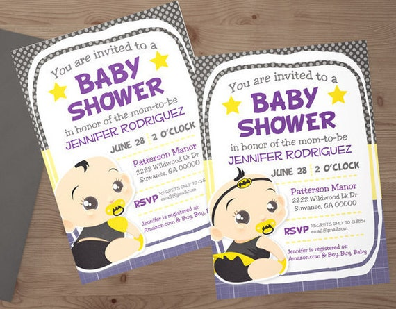 custom batman superhero baby shower invitation digital download