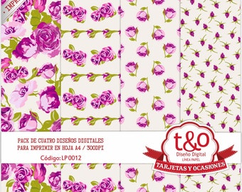 Purple roses digital paper