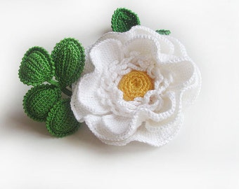 Brooch white rose.