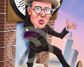 HAROLD LLOYD caricature - artwork print signed by artist - 100 print edition - A3 size