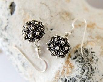 Silver Sterling Dangly Earrings. Dangle Earrings. Flower Earrings. Handmade Earrings. Dainty Earrings. Ball Drop Earrings. Oxidized. Bali.