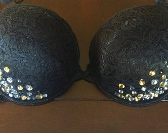 Black Lace Push-up Rave Bra with Silver/Gold Beads
