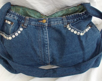 Recycled Upcycled Jean Bag with Cross Body Strap